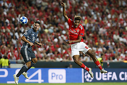 September 19, 2018 - Lisbon, Portugal - Gedson Fernandes of Benfica  (R) heads for the ball with James Rodriguez of Bayern Munchen (L)  during Champions League 2018/19 match between SL Benfica vs FC Bayern Munchen, in Lisbon, on September 19, 2018. (Credit Image: © Carlos Palma/NurPhoto/ZUMA Press)