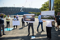 September 5, 2018 - Tokyo, JAPAN - 180905 Staff showcase how the Olympic Stadium, arena to be used for athletics, football and the Opening Ceremony and Closing Ceremony, will look like after construction, during the first World Press Briefing for the 2020 Olympic Games on September 5, 2018 in Tokyo..Photo: Joel Marklund / BILDBYRN / kod JM / 87776 (Credit Image: © Joel Marklund/Bildbyran via ZUMA Press)
