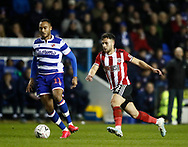 Jordan Obita of Reading and George Baldock of Sheffield Utd during the FA Cup match at the Madejski Stadium, Reading. Picture date: 3rd March 2020. Picture credit should read: Simon Bellis/Sportimage