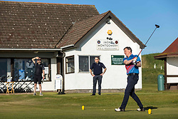 Golf returns to Scotland, Dunbar, 29 May 2020 <br /> <br /> Pictured: Mike Gilmartin teeing off in the first group to tee off post lockdown.  The first golfers, Steven Miller and Mike Gilmartin, tee off at Dunbar Golf Club. Players have returned to the greens as the first phase of COVID restrictions are lifted.<br /> <br /> (c) Richard Dyson | EdinburghElitemedia.co.uk 2020