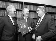 16/01/1987<br /> 01/16/1987<br /> 16 January 1987<br /> Presentation of I.H.F. report to C.J. Haughey, T.D., Leader of Fianna Fail. The report entitled 'Tourism - Working for Ireland - A Plan for Growth' was presented by Mr. Conor McCarthy, President of the Irish Hotels Federation at Leinster House, Kildare Street, Dublin. The report was commissioned by the Irish Hotels Federation.<br /> Picture shows: Mr. C.J. Haughey, T.D. (centre) with Mr. Conor McCarthy, (right) and Mr. Dermot Dwyer, Chairman of the Policy Report Committee, who produced the report.