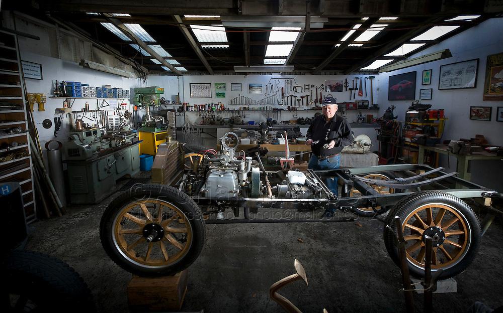 Internationally acclaimed vintage car restorer Roy King in his Kaponga workshop.