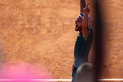 May 5, 2018 - Estoril, Portugal - Joao Sousa of Portugal celebrates his victory over Stefanos Tsitsipas of Greece during the Millennium Estoril Open ATP 250 tennis tournament semifinal, at the Clube de Tenis do Estoril in Estoril, Portugal on May 5, 2018. (Credit Image: © Pedro Fiuza via ZUMA Wire)