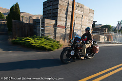 Terry Richardson riding his 1932 Harley Davidson VL during stage 16 (142 miles) of the Motorcycle Cannonball Cross-Country Endurance Run, which on this day ran from Yakima to Tacoma, WA, USA. Sunday, September 21, 2014.  Photography ©2014 Michael Lichter.