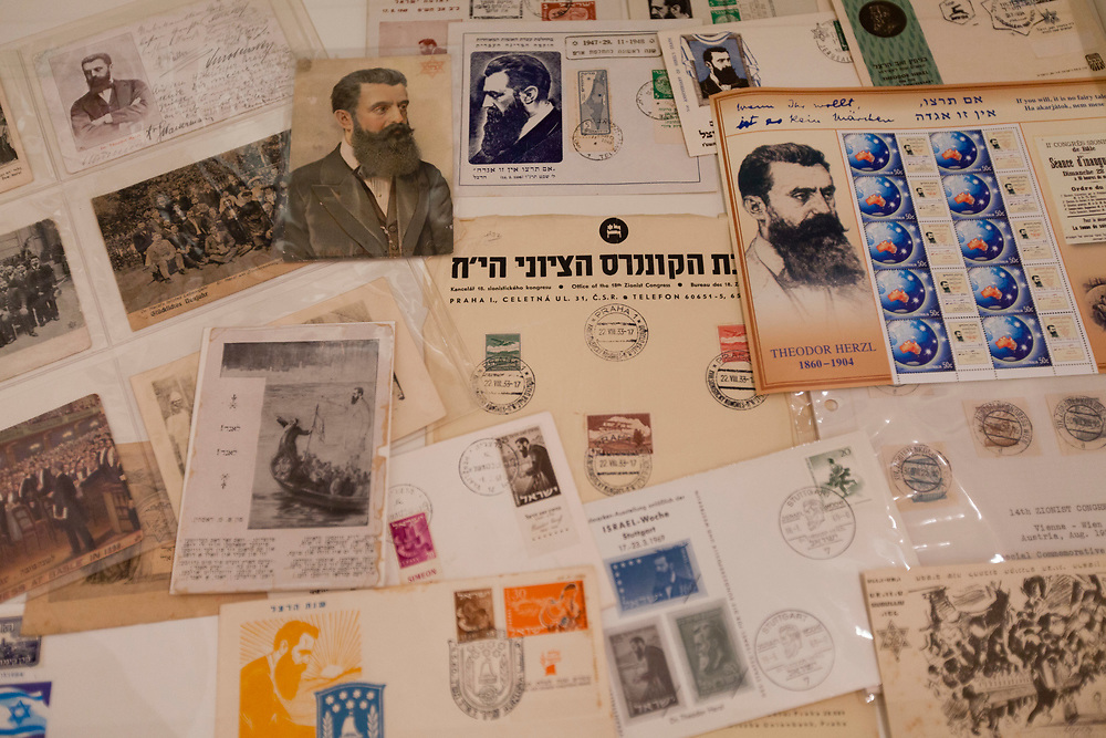 Theodor Herzl memorabilia, part of the Manfred Anson Collection, is seen at the Central Zionist Archives in Jerusalem, Israel, on March 13, 2013.