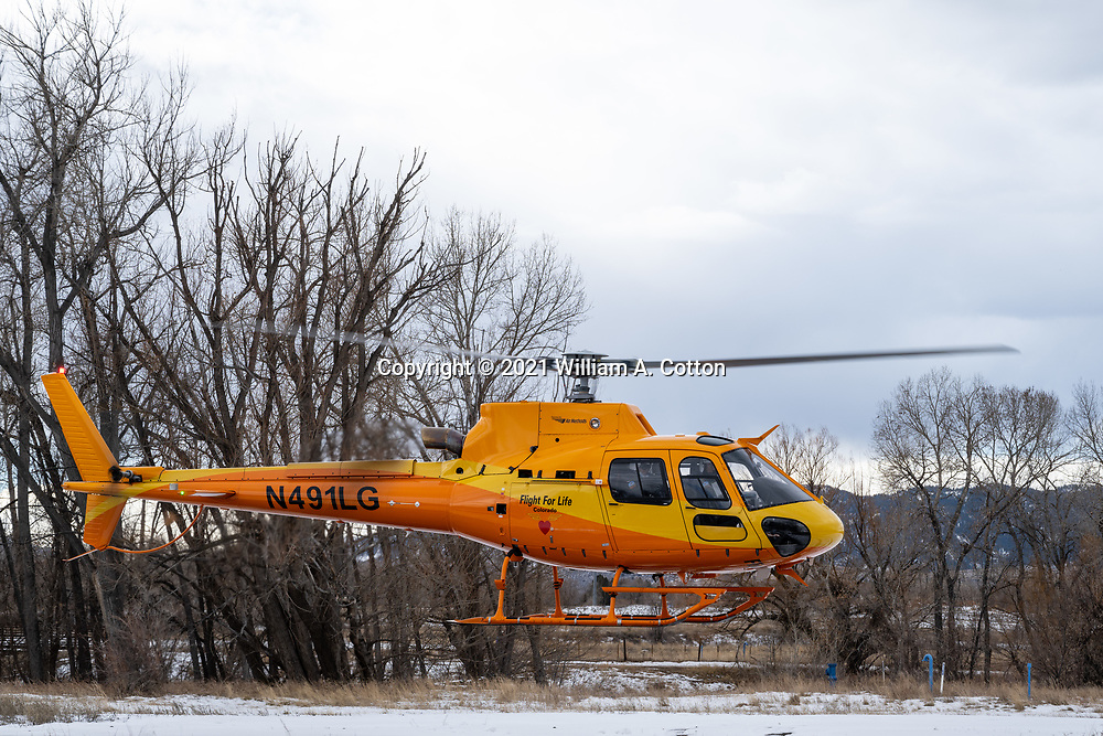 Flight For Life's Lifeguard 1 crew does Lift Ticket training for Diamond Peaks Ski Patrol members and Larimer County Sheriff's Office Emergency Services staff, January 5, 2020 in Fort Collins. Flight For Life's Lift Ticket avalanche and rescue deployment programs work with search and rescue teams to quickly place rescue mountaineers at the scenes of injured or ill parties.
