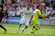 Danny Graham of Swansea city (c) celebrates after he scores his sides 1st goal.  Pre-season friendly match, Swansea city v FC Stuttgart at the Liberty Stadium in Swansea, South Wales on Saturday 11th August 2012. pic by Andrew Orchard, Andrew Orchard sports photography,