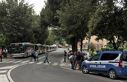 Police presence at the Villa Borghese with Liverpool fans prior to the UEFA Champions League, Semi Final, Second Leg at the Stadio Olympicio, Liverpool.
