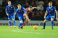 David Perkins wins the ball during the EFL Sky Bet League 1 match between Rochdale and Accrington Stanley at Spotland, Rochdale, England on 24 November 2018.