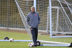 during the training session at London Colney.