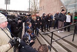 © Licensed to London News Pictures. 04/04/2013.Nottingham, UK. Press wait outside Nottingham Crown Court for news on the sentence.The last day of the Philpott fire hearing. Three individuals, Mairead Philpott, Michael Philpott and Paul Mosley are sentenced for manslaughter of 6 children in Derby 2012 at Nottingham Crown Court. sentencing was postponed until 10:30am today (Thursday 4th April 2013)   .   Photo credit : Tom Maddick/LNP