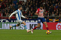 October 27, 2018 - Madrid, Madrid, Spain - Aritz (L) and Diego Costa (R)..during the match between Atletico de Madrid vs Real Sociedad. Atletico de Madrid won by 2 to 0 over Real Sociedad whit goals of Godin and Filipe Luis. (Credit Image: © Jorge Gonzalez/Pacific Press via ZUMA Wire)