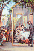 Harriet Beecher Stowe 'Uncle Tom's Cabin' first published 1852. Death of Eva from tuberculosis. Tom and Topsy with family at bedside while rest of slaves in courtyard pray for Eva. Chromolithograph c1870.