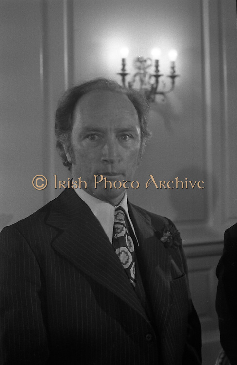 Canadian Prime Minister, Pierre Trudeau arrives in Dublin    (J17).14.03.1975.03.14.1975.3rd April 1975..Pierre Trudeau arrived today for a brief visit to Ireland. He was greeted by the Taoiseach Mr. Liam Cosgrave on his arrival at Dublin Airport..Portrait of Canadian Prime Minister Pierre Trudeau on his short visit to Ireland.