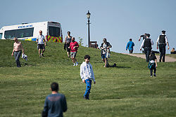 © Licensed to London News Pictures. 11/04/2020. London, UK. Police officers patrol around Primrose Hill, London over Easter Bank holiday weekend, during a pandemic outbreak of the Coronavirus COVID-19 disease. The public have been told they can only leave their homes when absolutely essential, in an attempt to fight the spread of coronavirus COVID-19 disease. Photo credit: Ben Cawthra/LNP