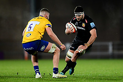 Tom Price of Exeter Braves is challenged by Jack Davies of Bath United - Mandatory by-line: Ryan Hiscott/JMP - 16/12/2019 - RUGBY - Sandy Park - Exeter, England - Exeter Braves v Bath United - Premiership Rugby Shield