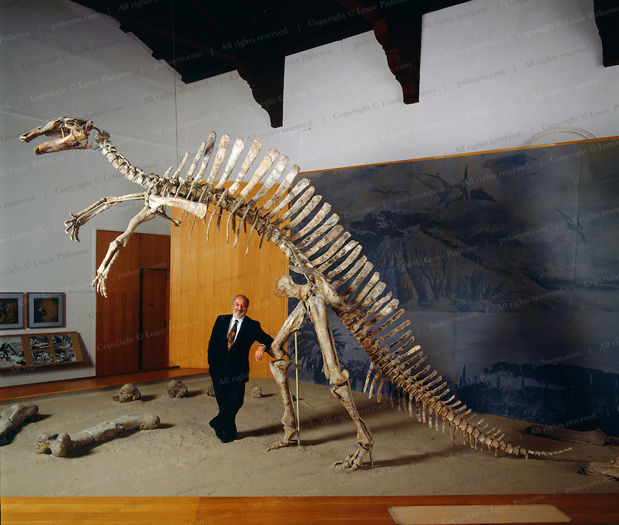 Venetian entrepreneur and dinosaur expedition leader Giancarlo Ligabue with Ouranosaurus, a herbivorous sail-backed dinosaur excavated from the Sahara Desert of Niger with paleontologist Philippe Taquet.