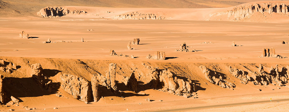 """Rocks formation sculptured by the wind named """"Moais de Tara"""" in the Altiplano (high Andean plateau) at an altitude of 4200m, Atacama desert, Chile, South America"""