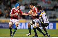 18 June 2013; Toby Faletau, British & Irish Lions, supported by team-mate Justin Tipuric, is tackled by Sam Carter, Brumbies. British & Irish Lions Tour 2013, Brumbies v British & Irish Lions, Canberra Stadium, Bruce, Canberra, Australia. Picture credit: Stephen McCarthy / SPORTSFILE