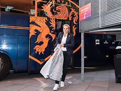 Coach Sarina Wiegman of the Netherlands women arrives at the stadium during the FIFA Women's World Cup 2019 play off first leg qualifying match between The Netherlands and Denmark at the Rat Verlegh stadium on October 05, 2018 in Breda, The Netherlands