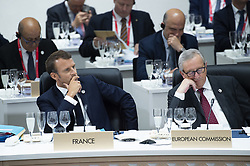 """French President Emmanuel Macron with President of the European Commission Jean-Claude Juncker during a meeting on """"World Economy"""" at the G20 Osaka Summit in Osaka, Japan on June 28, 2019.Photo by Eliot Blondet/ABACAPRESS.COM"""
