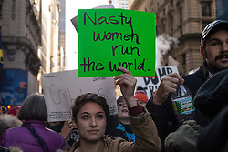 November 12, 2016 - New York, NY, United States - On the fourth day following the U.S. Presidential election, over a thousand demonstrators rallied in Manhattan's Union Square Park before marching to Trump Tower in Midtown where participants chanted and held signs expressing their objection to the political agenda of President-elect Donald J. Trump. (Credit Image: © Albin Lohr-Jones/Pacific Press via ZUMA Wire)