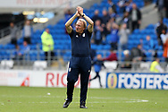 Cardiff city manager Neil Warnock celebrates his teams 3-0 win at the end of the match as his team go top of the league. EFL Skybet championship match, Cardiff city v Aston Villa at the Cardiff City Stadium in Cardiff, South Wales on Saturday 12th August 2017.<br /> pic by Andrew Orchard, Andrew Orchard sports photography.