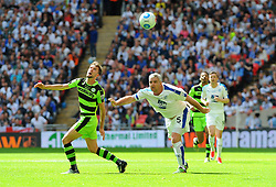 Christian Doidge of Forest Green Rovers competes with Steve McNulty of Tranmere Rovers for the highball - Mandatory by-line: Nizaam Jones/JMP - 14/05/2017 - FOOTBALL - Wembley Stadium- London, England - Forest Green Rovers v Tranmere Rovers - Vanarama National League Final