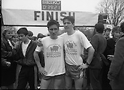First All-Traveller Mini Marathon.    (R53)..1987..05.04.1987..04.05.1987..5th April 1987..Today saw the running of the first All-Traveller Mini Marathon in aid of Trocaire the World Aid Agency. The race was run over a 10k course in the Phoenix Park, Dublin. Bishop Eamon Casey a patron of the charity was on hand to lend support...Brothers, Michael and Martin Cullen,first and second in the mens' race are pictured at the finish line in the Phoenix Park.