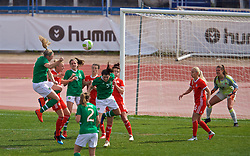 MARBELLA, SPAIN - Tuesday, March 5, 2019: Republic of Ireland's Louise Quinn scores the only goal of the game to seal a 1-0 victory for Eire during an international friendly match between Wales and Republic of Ireland at the Estadio Municipal de Marbella. (Pic by David Rawcliffe/Propaganda)