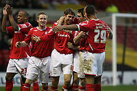 Photo: Pete Lorence.<br />Nottingham Forest v Yeovil Town. Coca Cola League 1. 13/01/2007.<br />Grant Holt celebrates taking Nottingham into the lead with his squad.