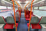 A train to Basingstoke from Waterloo station is seen empty on Tuesday, March 31 2020. Britain's Prime Minister Boris Johnson has implemented social distancing measures banning social gatherings and groups of more than two people. People must stand more than two metres apart. Several European countries have closed borders, schools as well as public facilities, and have cancelled most major sports and entertainment events in order to prevent the spread of the SARS-CoV-2 coronavirus causing the COVID-19 disease. (Photo/Vudi Xhymshiti)