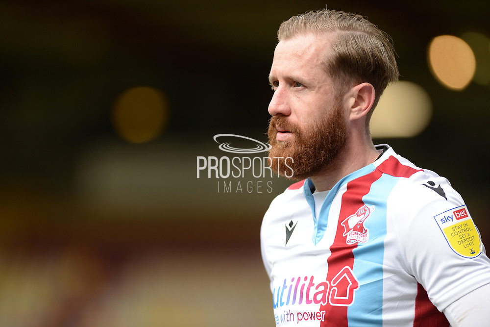 Scunthorpe United Kevin van Veen (10) heads the ball during the EFL Sky Bet League 2 match between Bradford City and Scunthorpe United at the Utilita Energy Stadium, Bradford, England on 1 May 2021.