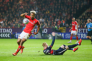 Charlton Athletic forward Lyle Taylor (9) controls the ball during the EFL Sky Bet League 1 second leg Play-Off match between Charlton Athletic and Doncaster Rovers at The Valley, London, England on 17 May 2019.