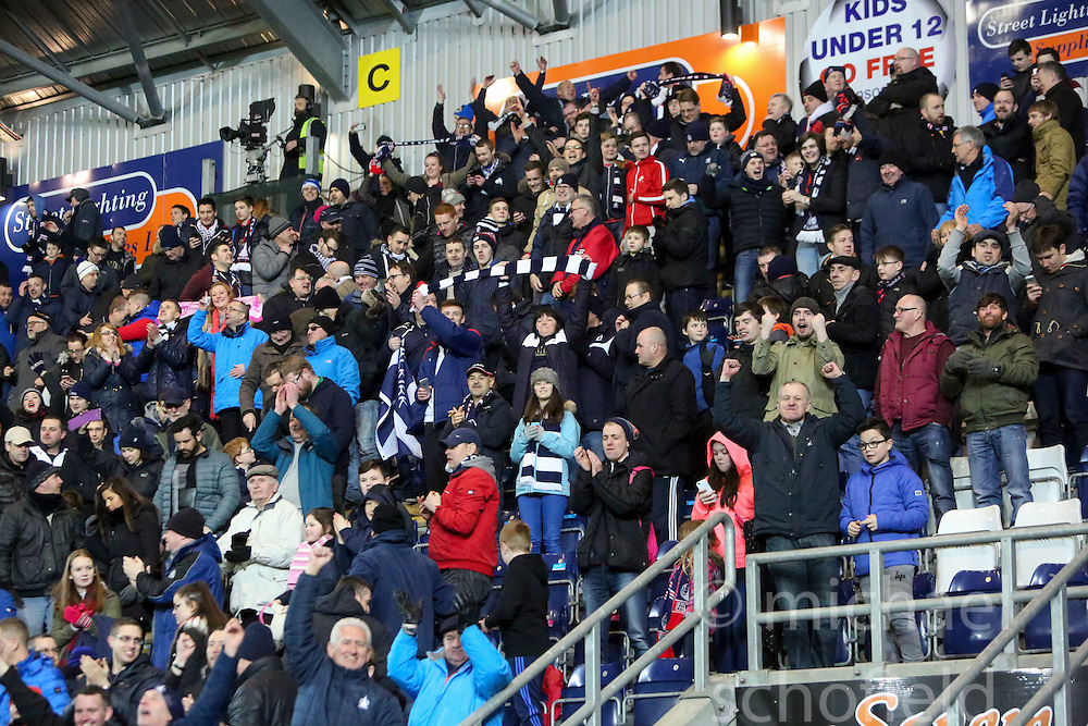 South stand at the end of the game. <br /> Falkirk 3 v 2 Rangers, Scottish Championship game player at The Falkirk Stadium, 18/3/2016.