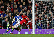 Zlatan Ibrahimovic of Manchester United heads the ball in the net it was disallowed for offside during the English Premier League match at Old Trafford Stadium, Manchester. Picture date: April 4th 2017. Pic credit should read: Simon Bellis/Sportimage