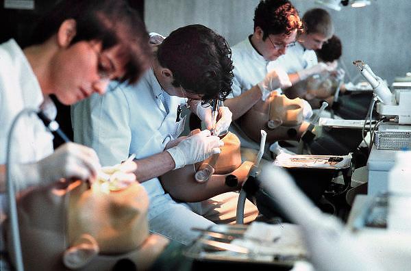 Nederland, Nijmegen, 15-10-2001Tandheelkunde praktikum. Studenten oefenen op een fantoompop.Foto: Flip Franssen