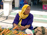 Aladipina Limpoan (42), selling home-grown carrots on the women farmers group communal market stall in Alamada, Cotabato province, Mindanao Island, The Philippines. In the Philippines climate change is contributing to an increase in the frequency and intensity of typhoons as well as a general rise in temperatures and rain leading to an increase in droughts, flash floods and landslides. This is having a huge impact on smallholder farmers who depend on one cash crop leaving them vulnerable to any changes in weather patterns. If their crops fail they are left with no other source of income for that year. In central Mindanao Oxfam is working with local partners and governments to increase awareness of climate change in poor communities and reduce the risks it creates to vulnerable farmers by supporting them in crop diversification.