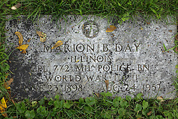 31 August 2017:   Veterans graves in Park Hill Cemetery in eastern McLean County.<br /> <br /> Marion B Day Illinois Corporal 772 Military Police BN World War I & II June 23 1898 Aug 24 1952