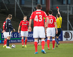 Ross County's Terence Dunfield sent off by ref Thomson. <br /> Half time : Dundee 0 v 0 Ross County, SPFL Premiership game player 4/1/2015 at Dundee's home ground Dens Park.