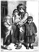 The Children of the Poor (Les Enfants Pauvres) - 'The Ragged Babes That Weep'. Miserable, ragged, undernourished children. Illustration by T Cobb for Algernon C Swinburne translation of poem by Victor Hugo, London c1875.  Wood engraving