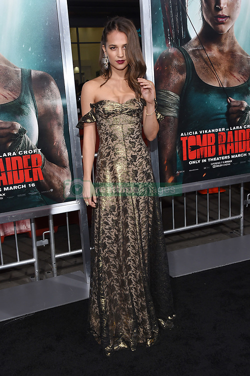 "Alicia Vikander at the U.S. premiere of ""Tomb Raider"" held at the TCL Chinese Theatre IMAX on March 12, 2018 in Hollywood, CA. 12 Mar 2018 Pictured: Alicia Vikander. Photo credit: O'Connor/AFF-USA.com / MEGA TheMegaAgency.com +1 888 505 6342"