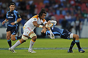 Sione Lauaki of the Chiefs was yellow carded for this high tackle on Wing of the Bulls, Bryan Habana.<br /> Rugby - 090425 - Super 14 - Vodacom Bulls v Chiefs - LOFTUS - Pretoria - South Africa. The Bulls won 33 -27<br /> Photographer : Anton de Villiers / SASPA