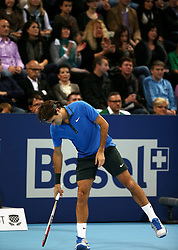28.10.2012, St. Jakobshalle, Basel, SUI, ATP, Swiss Indoors, Finale, im Bild Roger Federer (SUI) // during ATP Swiss Indoors Tournament Final Match at the St. Jakobshall, Basel, Switzerland on 2012/10/28. EXPA Pictures © 2012, PhotoCredit: EXPA/ Freshfocus/ Daniela Frutiger..***** ATTENTION - for AUT, SLO, CRO, SRB, BIH only *****