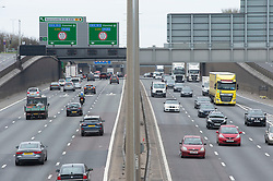 © Licensed to London News Pictures 02/04/2021. Dartford, UK. The M25 in Dartford, Kent today at midday. Easter getaway traffic on the roads in the UK is expected to be a lot quieter this Easter Friday as people stay home because of Coronavirus restrictions. Photo credit:Grant Falvey/LNP