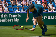 Denis Shapovalov of Canada stretches for the ball during the Nature Valley International at Devonshire Park, Eastbourne, United Kingdom on 27 June 2018. Picture by Martin Cole.