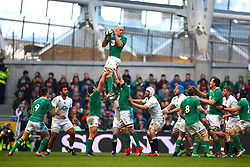 Ireland's Paul O'Connell wins a lineout - Photo mandatory by-line: Ken Sutton/JMP - Mobile: 07966 386802 - 01/03/2015 - SPORT - Rugby - Dublin - Aviva Stadium - Ireland v England - Six Nations