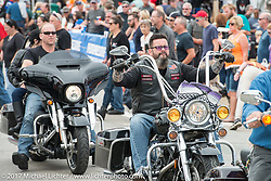 The intersection of Route 3 and Lakeside Avenue in Weirs Beach during Laconia Motorcycle Week, New Hampshire, USA. Saturday June 17, 2017. Photography ©2017 Michael Lichter.