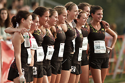 Falmouth Road Race: The Cochary High School Mile, Girls, competitors pose for group picture,