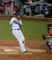 November 1, 2017 - Los Angeles, CA, United States - Dodgers Justin Turner, #10, walks after he is hit by Astros pitcher Lance McCullers Jr. during first inning action of game 7 at the World Series at Dodger Stadium Wednesday, November 1, 2017. (Credit Image: © David Crane/Los Angeles Daily News via ZUMA Wire)